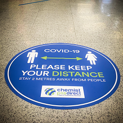 Keep Distance Floor Decal, Click here